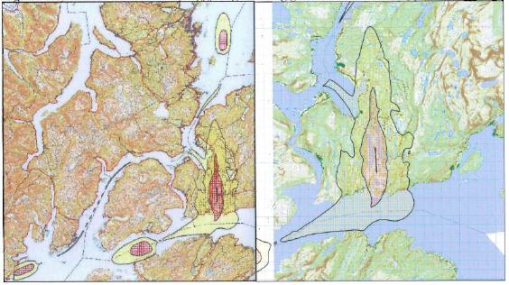 Det nye støysonekartet for Evenes. Faksimile fra Forsvarsbyggs rapport.