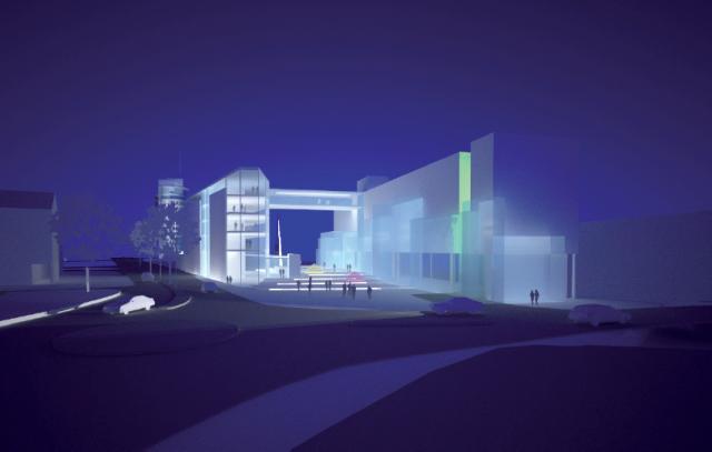 Stemningsbilde for nybygget. Illustrasjon: Madsø & Sveen