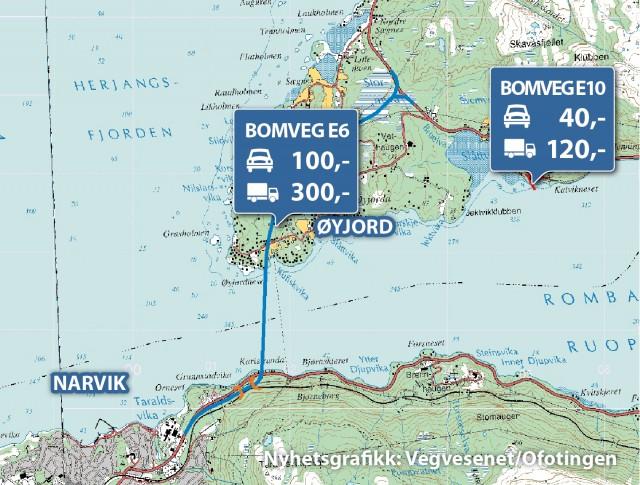 Slik foreslår Statens vegvesen at bomstasjoner skal legges og til hvilke passeringspriser. Nyhetsgrafikk: Statens vegvesen/Ofotingen