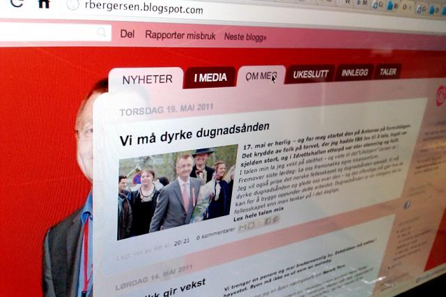 Roger Bergersens blogg. Foto: Skjermbilde