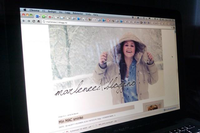 Ofoten-blogger Marlene «Jenta fra Narvik». Foto: Skjermbildefaksimile