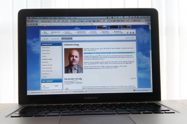 Ordfører Jardar Jensen begynte å blogge ved inngangen til 2011. Foto: Skjermdumpfaksimile