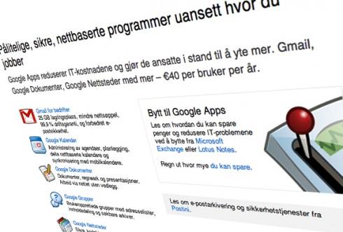 Ikke alle er like fornøyd med Narvik kommunes valg av Google Apps som kommunen er selv. Illustrasjon: Skjermbilde