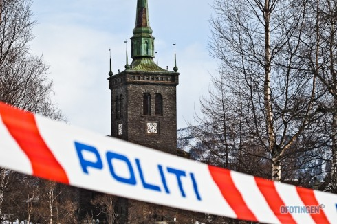 Skader på Narvik kirke etter sterk vind. Foto: Robin Lund