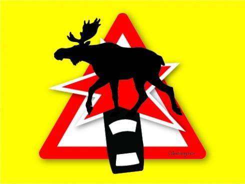 Kollisjon med elg. Illustrasjon: Robin Lund .no